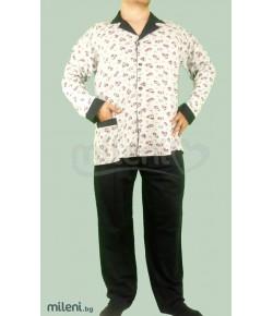 Мъжка Пижама Голям Номер Каре Вата С Копчета - Големи Размери - 3XL, 4XL, 5XL