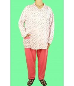 Дамска Пижама Голям Размер С Копчета Вата Каре-32 ( ватирана ) големи номера
