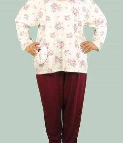 Дамска Пижама Каре-1882 - Тънка - Голям Номер Голям Размер Големи Номера
