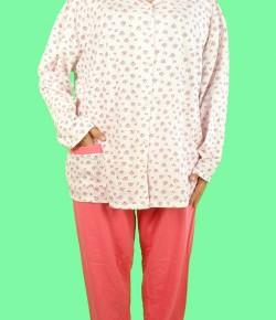 Дамска Пижама Голям Номер С Копчета Каре-19 ( големи размери )