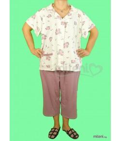 Дамска Пижама Голям Размер КАРЕ-28 - 7/8 панталон и къс ръкав с копчета