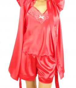 Комплект Пижама С Халат Цвят Корал